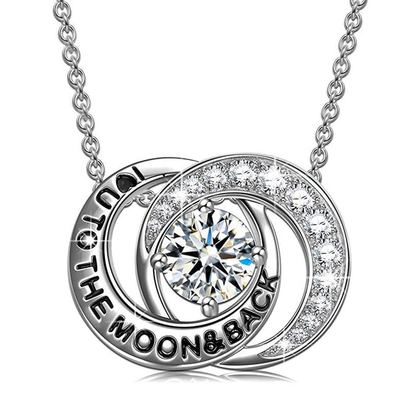 Swarovski Crystals Connecting Worlds- I Love you to the moon and back Necklace - www-mallwala-com