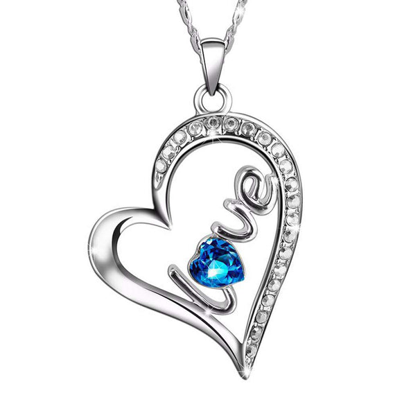 Swarovski Crystals Sapphire LOVE Pave Heart  Necklace - www-mallwala-com