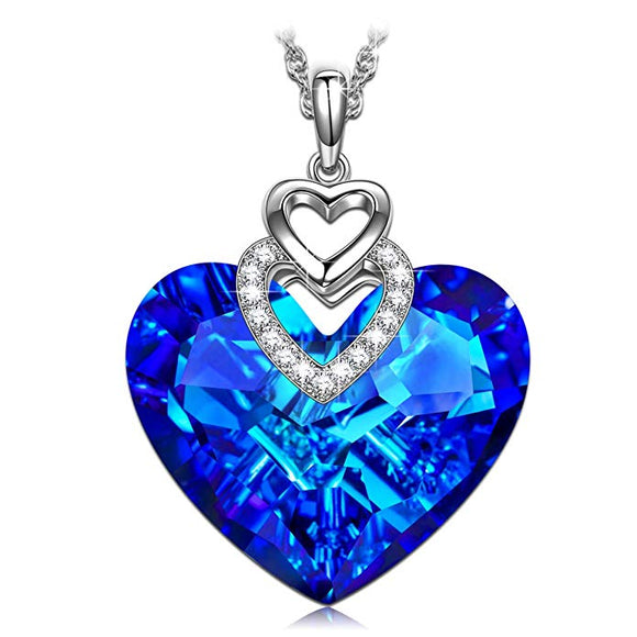 Swarovski Crystals Bermuda Blue Pave Heart Drop  Necklace - www-mallwala-com