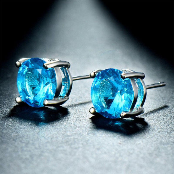 Aquamarine Swarovski Crystal 6mm Stud Earring 14K White Gold Plated - 1.00 CT - www-mallwala-com