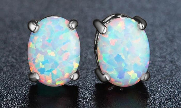 3.00 CT Oval Cut Opal Stud Earring in 18K White Gold Plated - www-mallwala-com