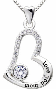 """I Love you MOM"" Heart Necklace Embellished with Swarovski Crystals in 18K White Gold Plated - www-mallwala-com"