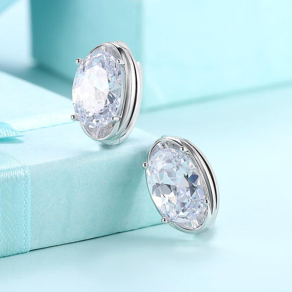 Circular Mid Swarovski Elements Earrings in 18K White Gold - www-mallwala-com