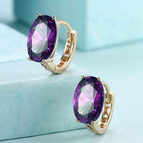 Oval Cut Purple Swarovski Clip On in 14K Gold - www-mallwala-com