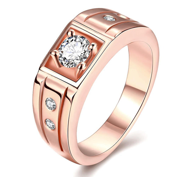 18K Rose Gold Plated Simulated Diamond Gucci Cut Cocktail Ring - www-mallwala-com
