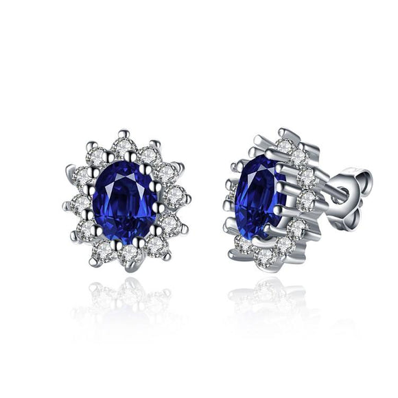 Sapphire Stud Earrings Set in 18K White Gold Plated - www-mallwala-com