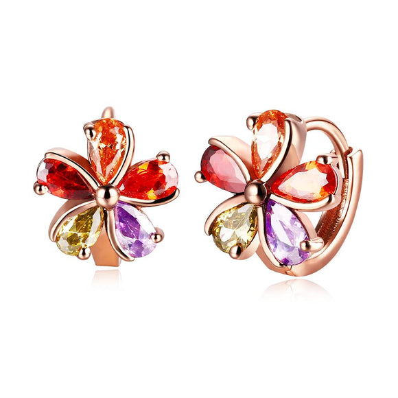 Rainbow Floral Swarovski Clip On in 14K Rose Gold - www-mallwala-com