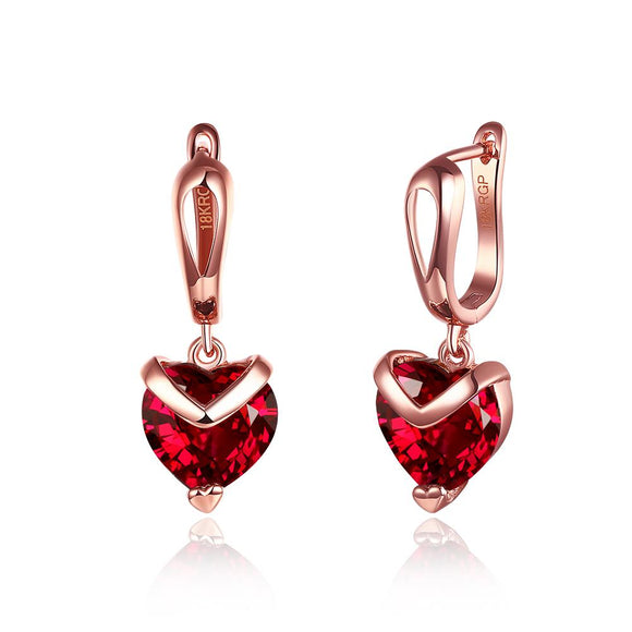 Red Heart Shaped Drop Earrings - www-mallwala-com