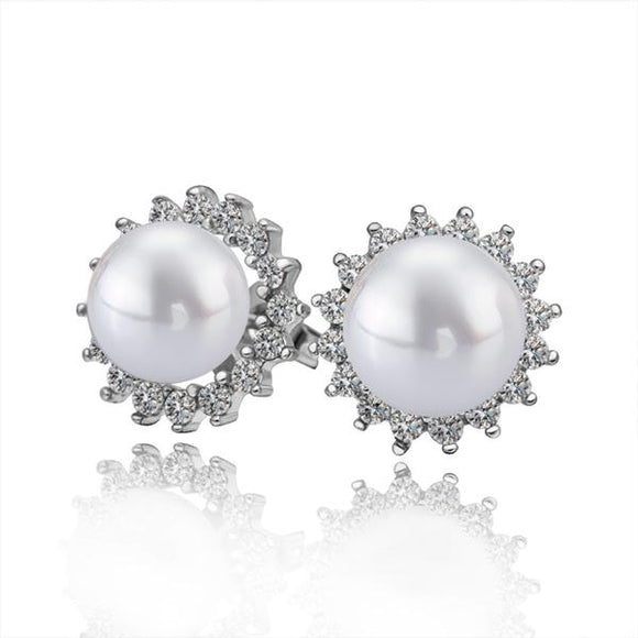 Classic Pearl and Swarovski Crystal Stud Earrings in 18K White Gold - www-mallwala-com
