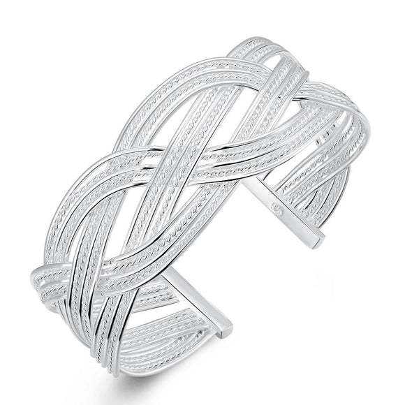 Silver Intertwined Mesh Bangle - www-mallwala-com