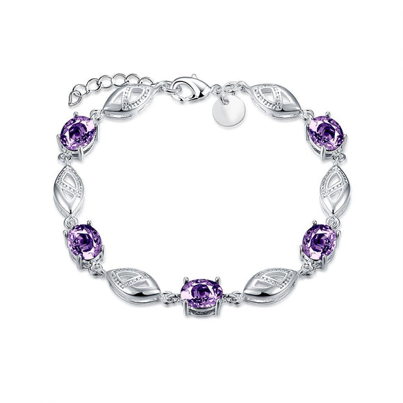 Purple Swarovski Oval Cut Bracelet in 18K White Gold - www-mallwala-com