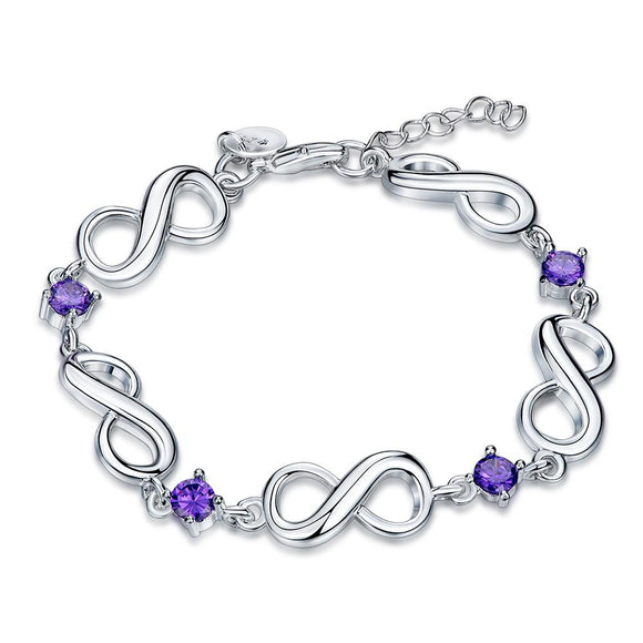 Purple Swarovski Infinite Shaped Bracelet in 18K White Gold - www-mallwala-com