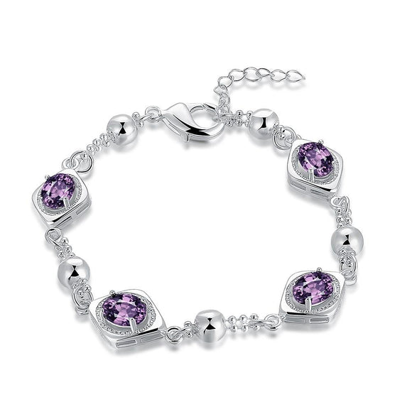 Four Stud Purple Swarovski Bracelet in 18K White Gold - www-mallwala-com