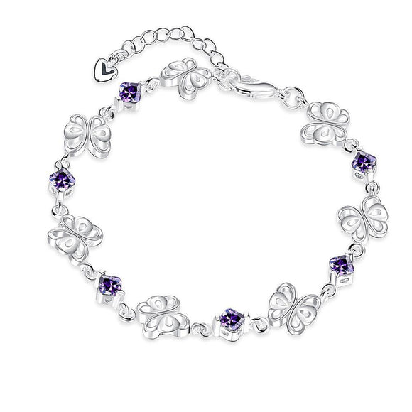 Purple Swarovski Clover Shaped Bracelet in 18K White Gold - www-mallwala-com