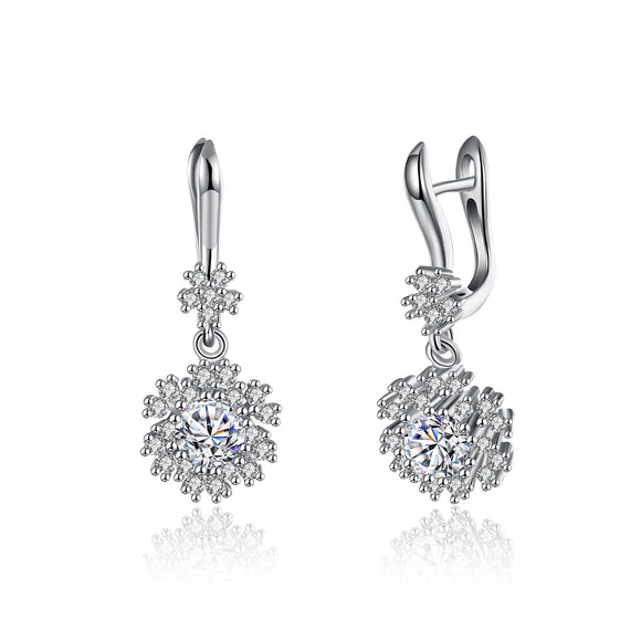 Sterling Silver Pav'e Swarovski Leverback Earrings - www-mallwala-com