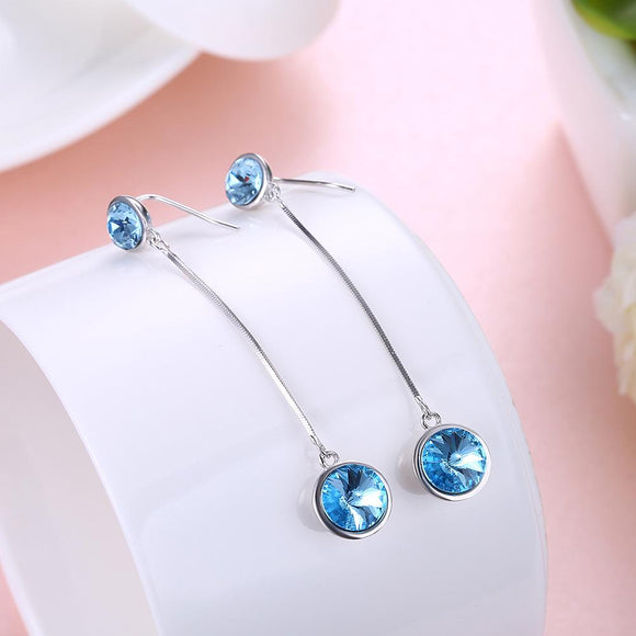 Sterling Silver Dangling Blue Swarovski Earrings - www-mallwala-com