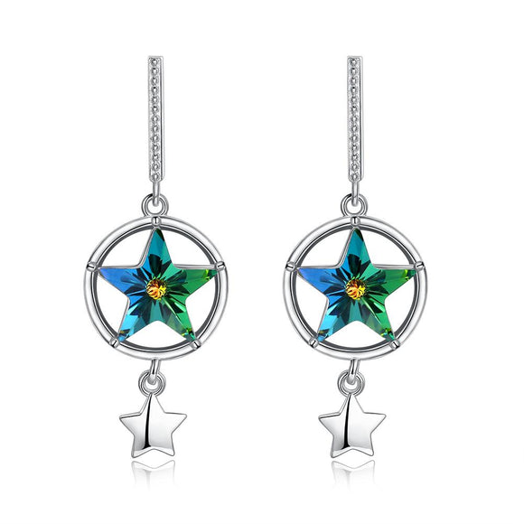 Sterling Silver Swarovski Star Shaped Stud Earrings - www-mallwala-com