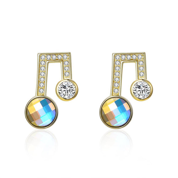 Sterling Silver Musical Noted Swarovski Studs- Gold - www-mallwala-com