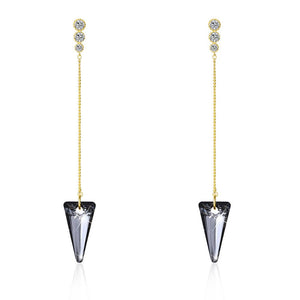 Sterling Silver Triangular Cut Swarovski Elements Earrings - Blue - www-mallwala-com