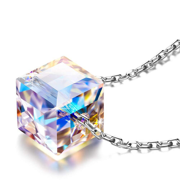 Sterling Silver Aurora Borealis Cubed Life Necklace with Swarovski Crystals - www-mallwala-com