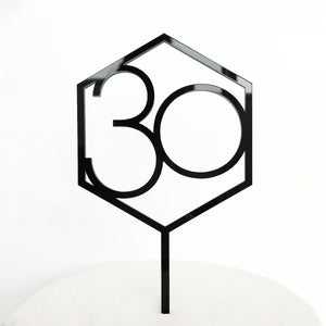 "Acrylic Cake Topper Number ""30"" Hexagon"
