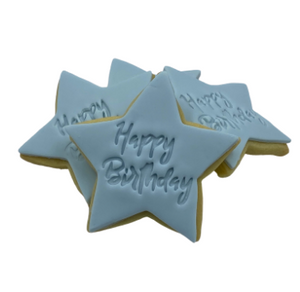 """Happy Birthday"" Stamped cookies."