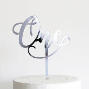 "Acrylic Cake Topper Small Wonderful ""ONE"""