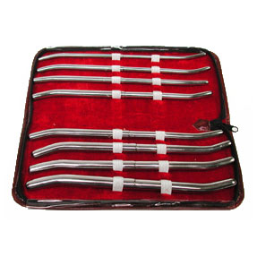 "Chrome-Plated Brass Hegar 8"" Urethral Sound Set"