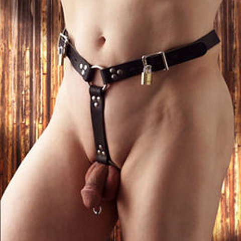 Locking Leather Anal Plug Harness