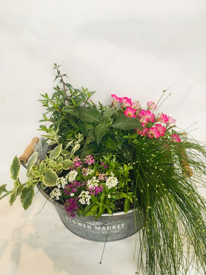 Round Galvanized Flower Market Planter