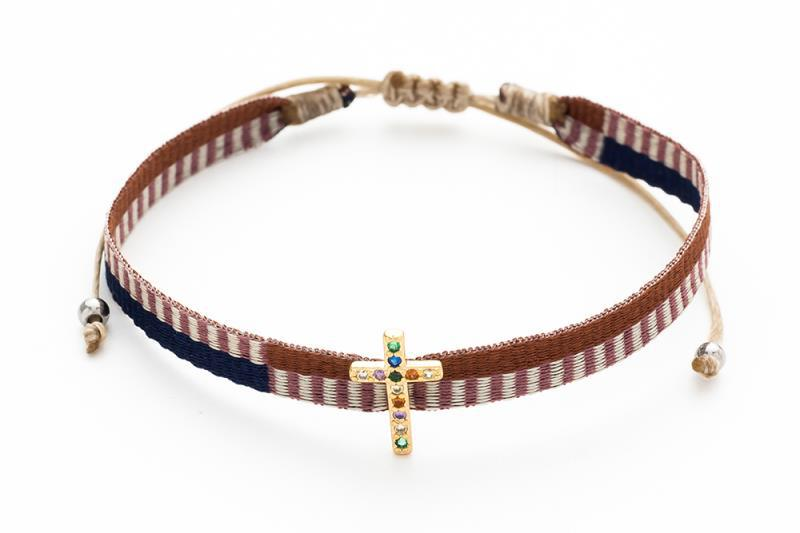 Pulsera tela cruz marrón