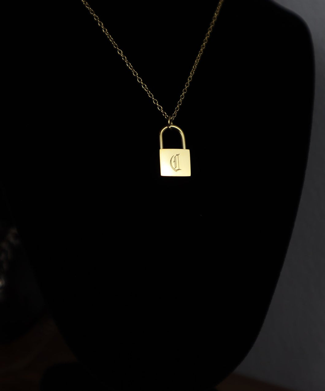 18k Gold Lock Necklace: C