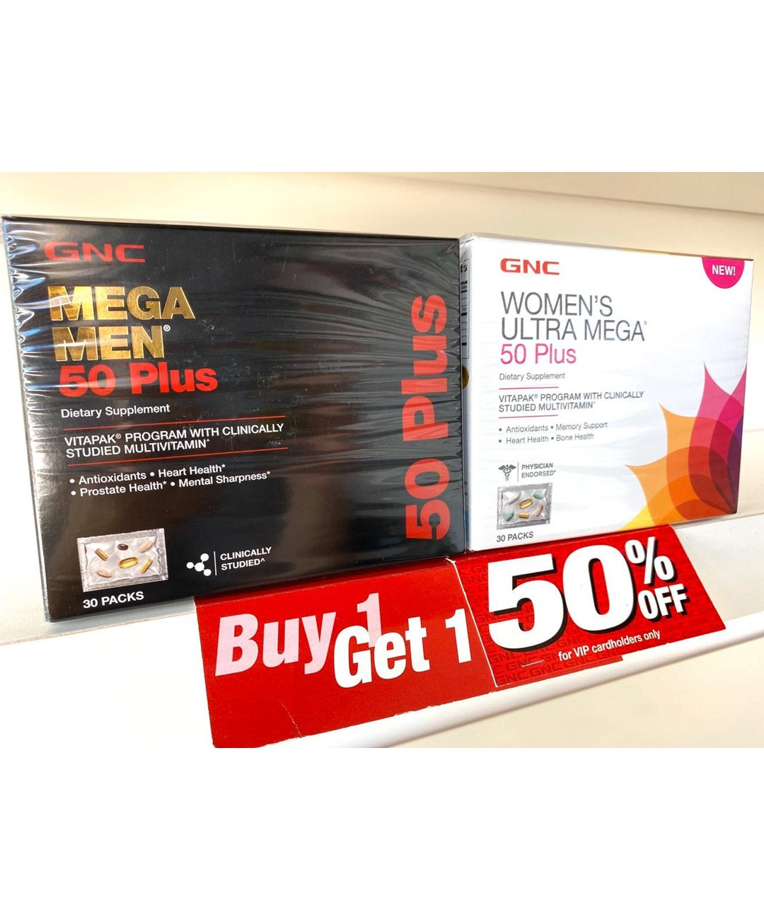 GNC Mega Men 50 Plus Vitapak/Women's Ultra Mega 50 Plus Vitapak BOGO 50% Off Set