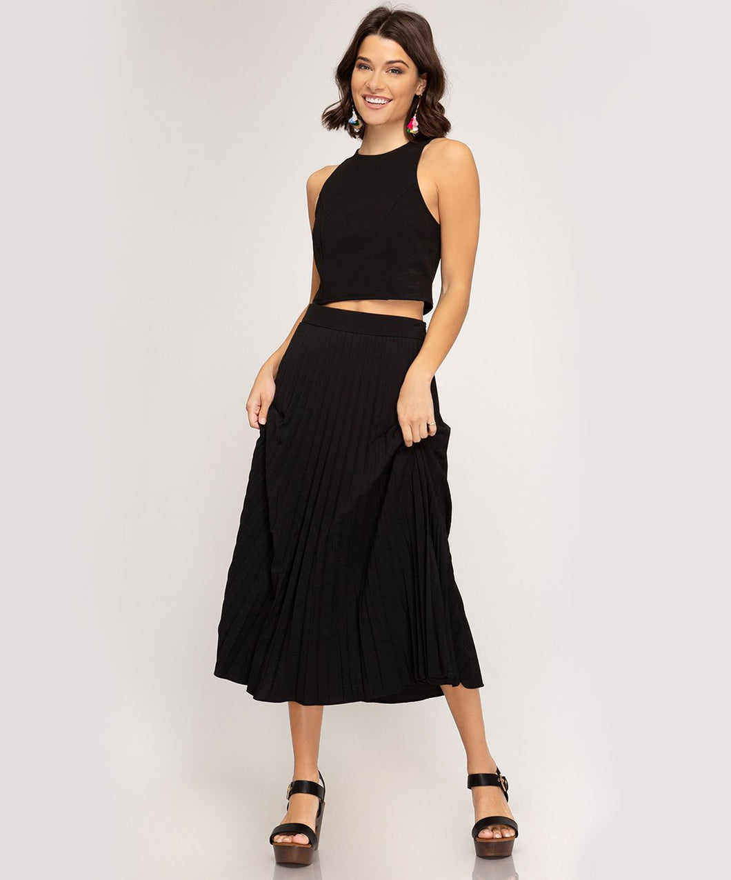 Pleated Woven Midi Skirt