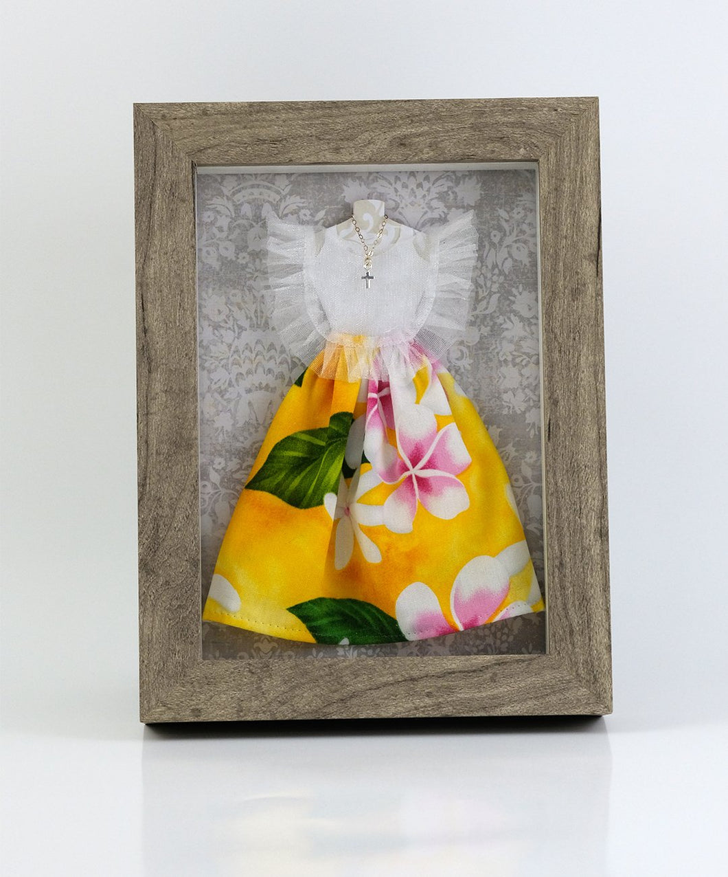 Pink and White on Yellow Miniature Mestiza