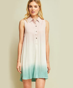 Ombre Button Down Shift Dress