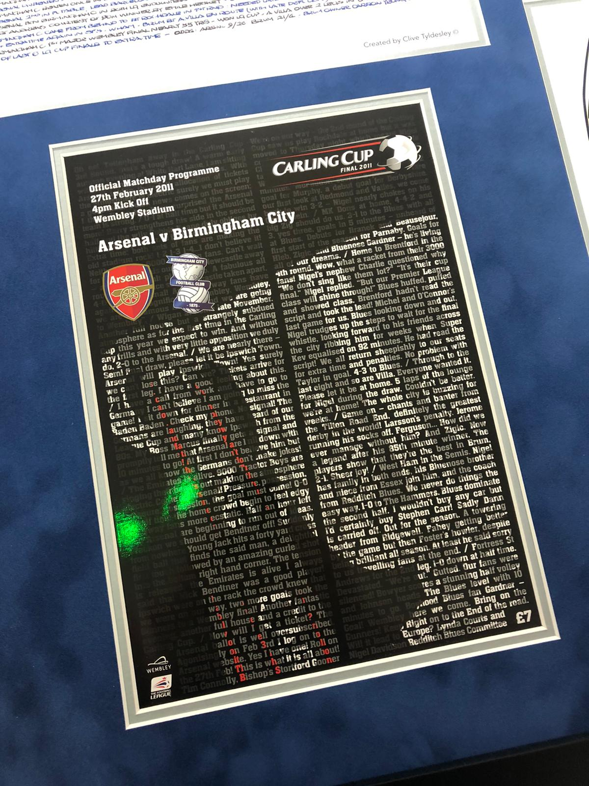 Carling Cup Frame - Signed by the Squad, Match Programme and Clive Tyldsleys's pre match notes