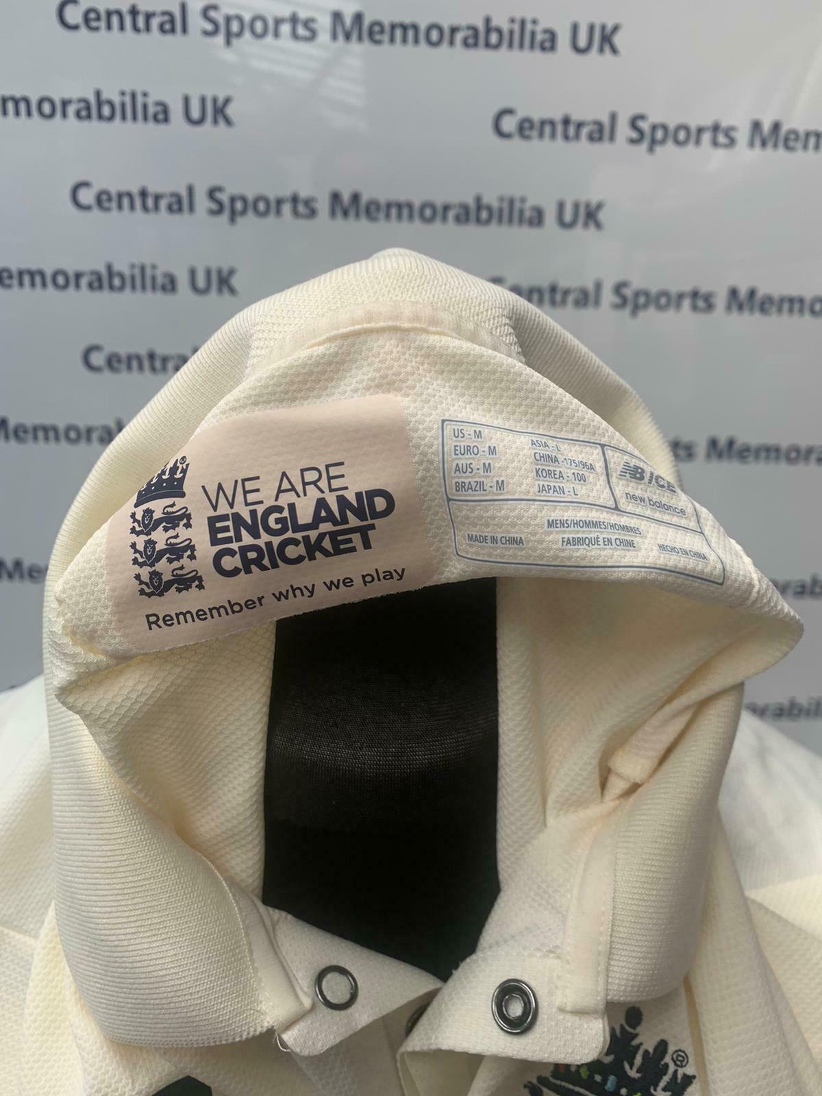 Moeen Ali England Match Worn Cricket Test Shirt India 2nd Test Chennai Signed