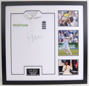 Ian Bell Hand Signed and Framed Replica England Test Shirt
