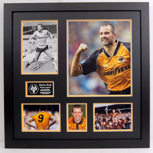 Steve Bull. Wolves Legend.  Signed Frame with career pictures and press photo.