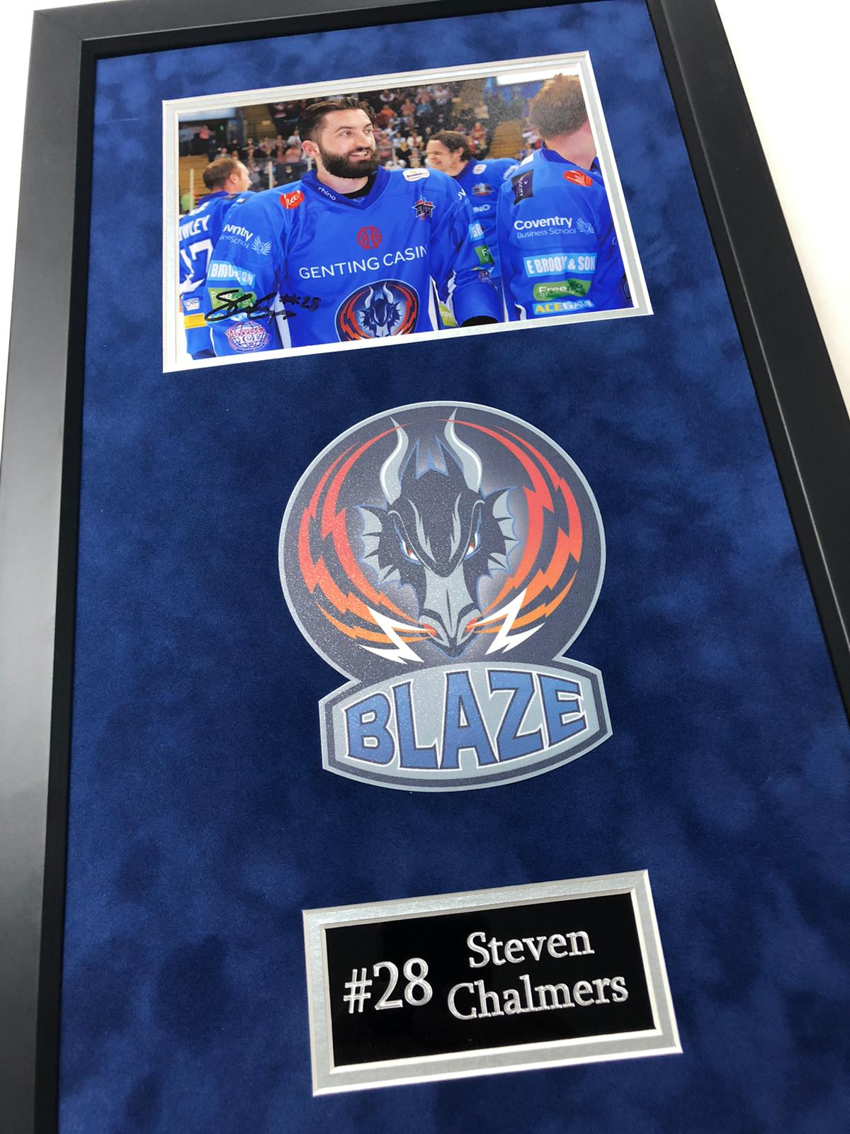 Steven Chalmers - Coventry Blaze 2015 Play Off Winner Signed Frame