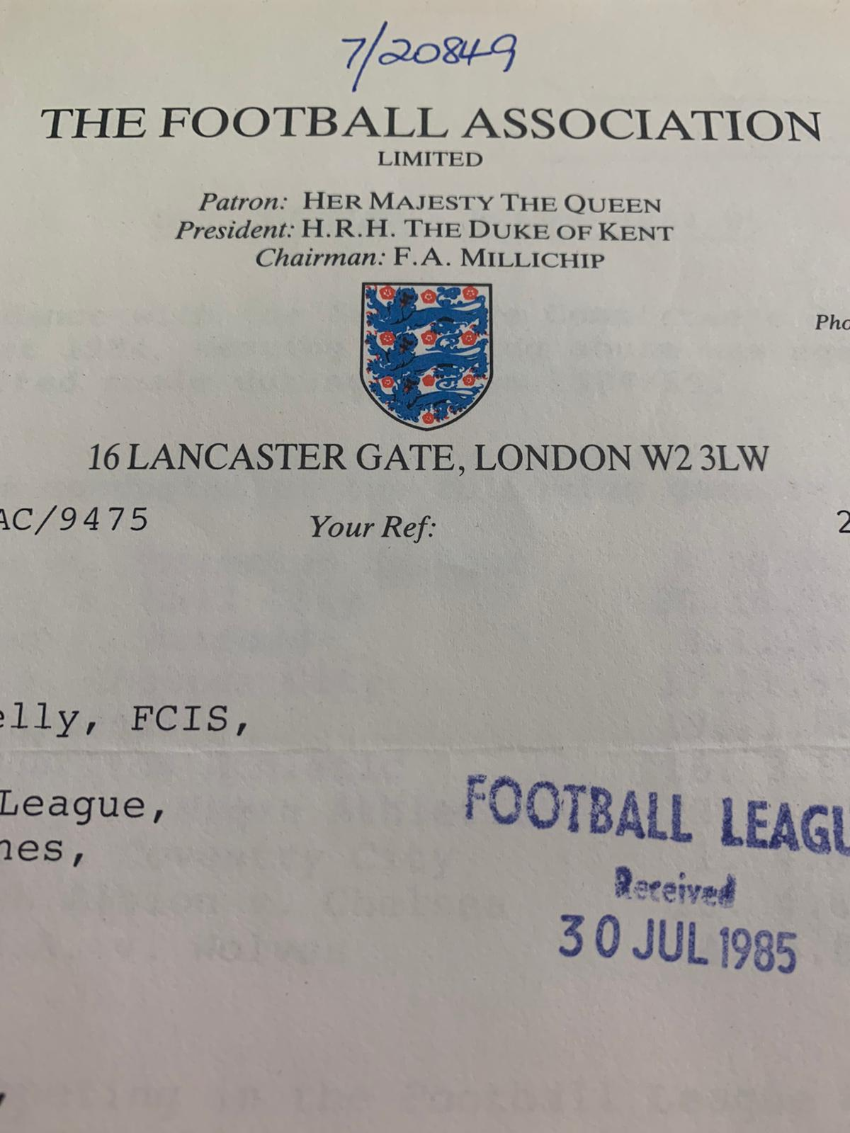 Two Official Football Association Letters Regarding Drug Testing from 1984-1986