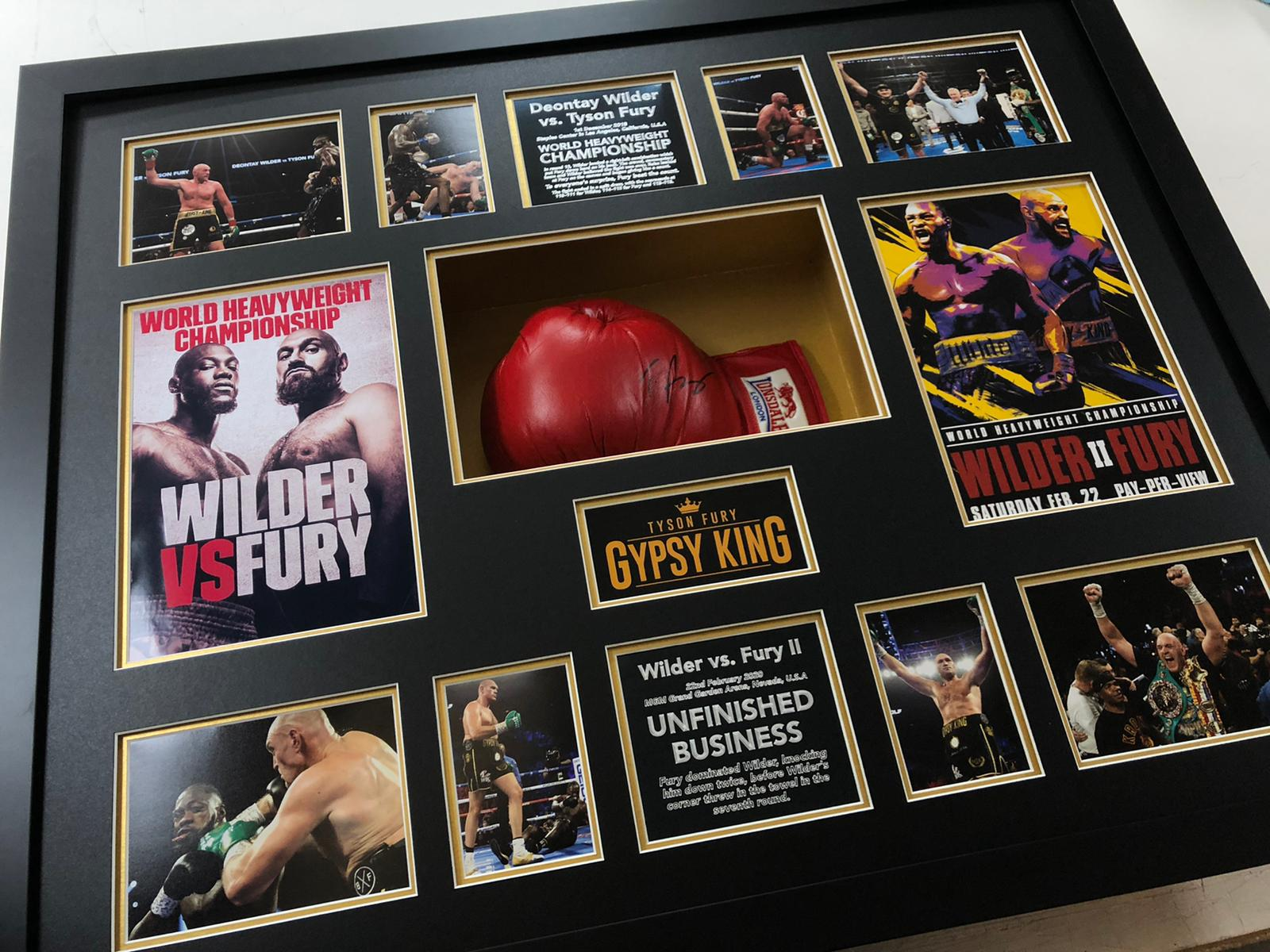 Tyson Fury Signed Glove and Framed vs Wilder - Unfinished Business.