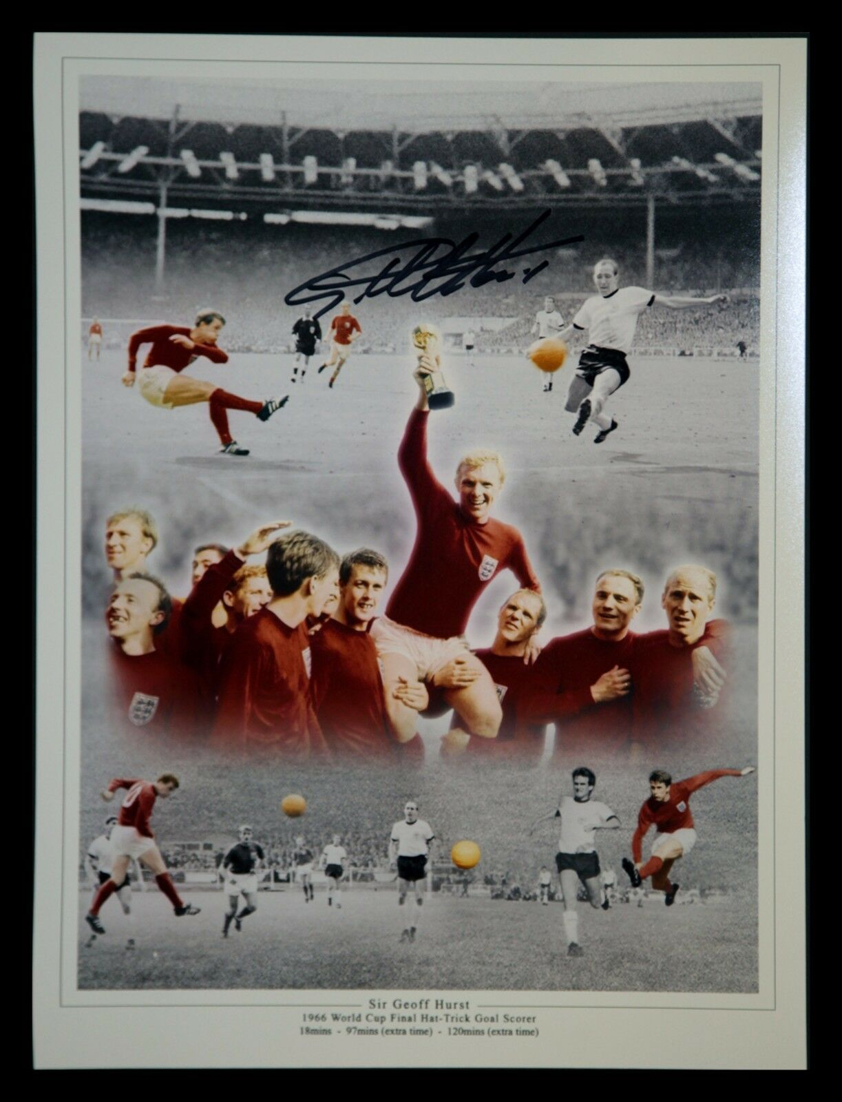 Geoff Hurst Signed Unframed 1966 Photo with COA - Extra Large!