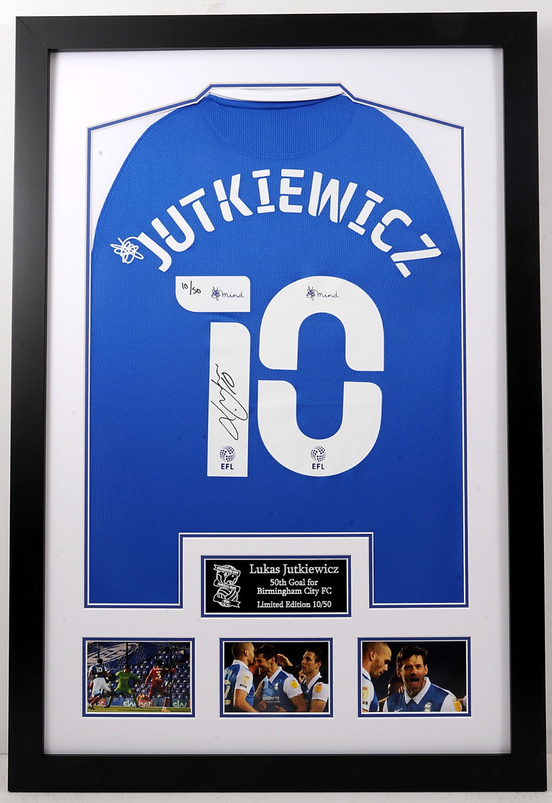 Lukas Jutkiewicz 50 Goals for Birmingham City Charity Limited Edition Frame - Helping The Mustard Seed Project