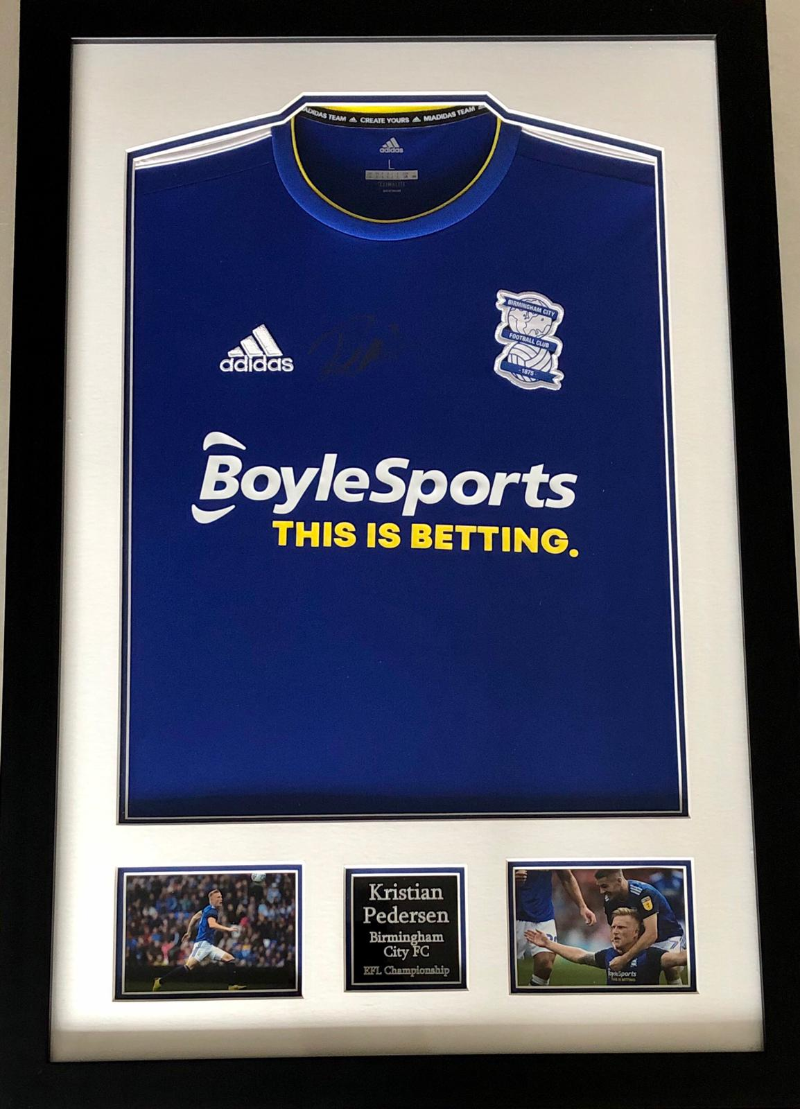 Kristian Pedersen Signed and Framed Birmingham City Home Shirt, with COA