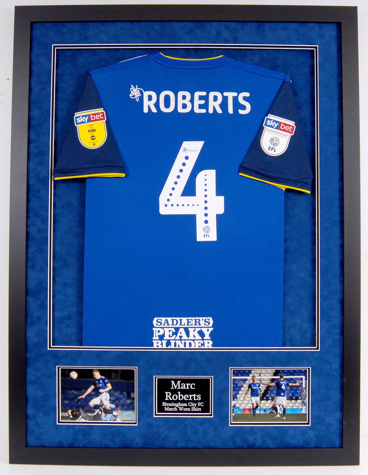 Marc Roberts Match Worn Birmingham City Framed Shirt