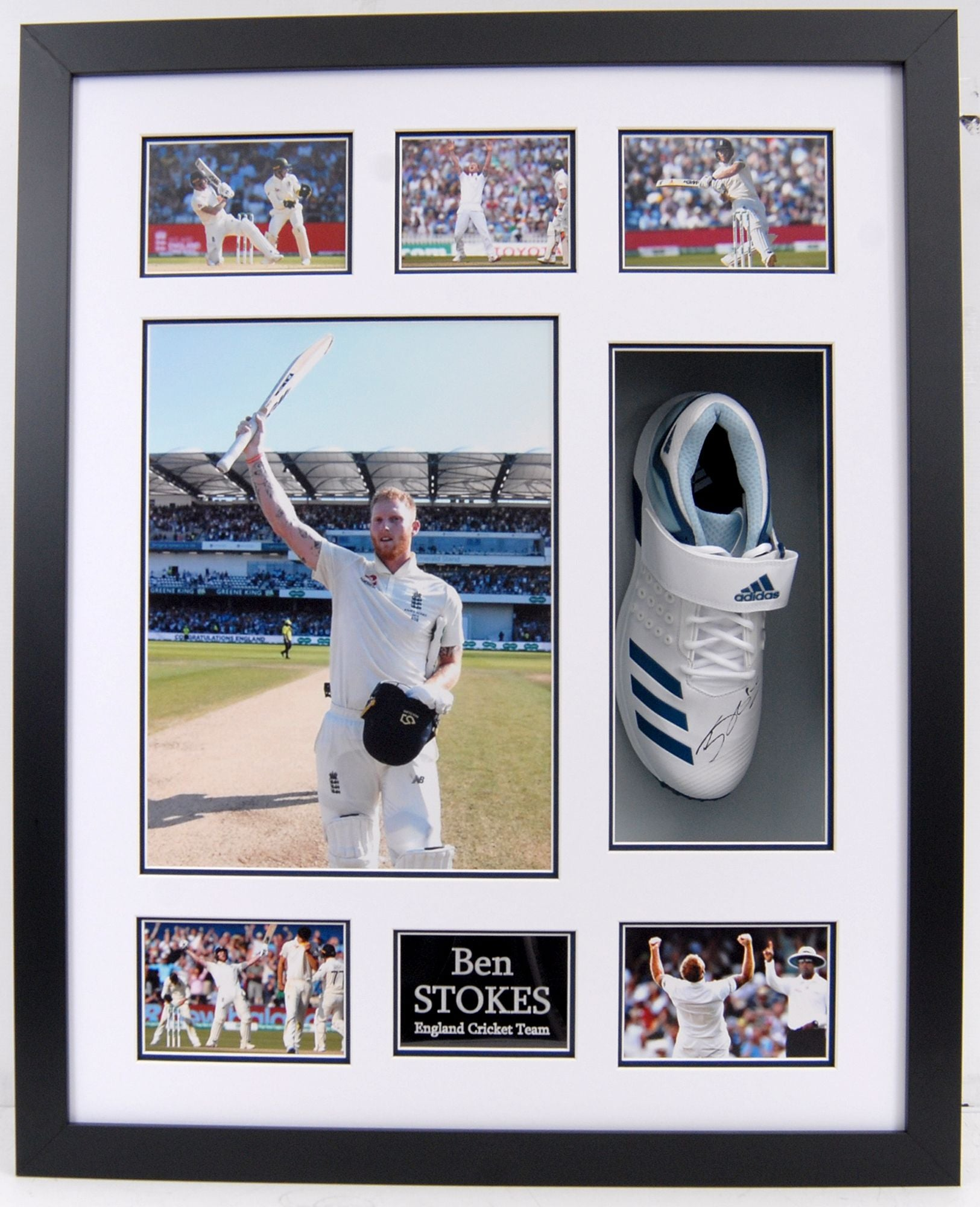 Ben Stokes Signed, Mounted and Framed Boot
