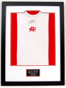 Trevor Francis signed and framed rare red Birmingham City Penguin shirt