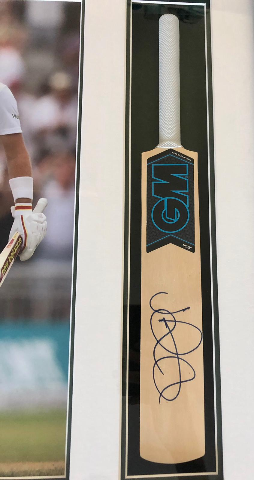 Joe Root Signed and Framed Miniature Bat